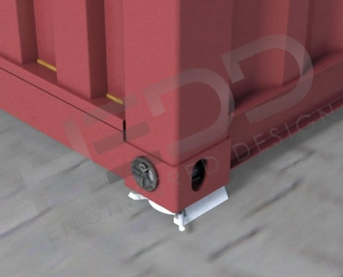 patented locking system connected to shipping container